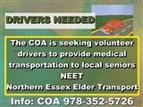 COA seeking volunteer drivers to provide medical transportation...