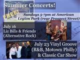 Summer Concerts!; Sundays 5-7pm at American  Legion Park (rear Prospect Street)
