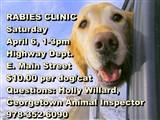 RABIES CLINIC  Saturday  April 7, 1-3pm  Highway Dept.  E. Main Street  $10.00 per dog/cat ...